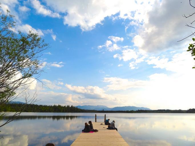 pier lake holiday sky clouds landscape nature blue horizon dock relax peaceful