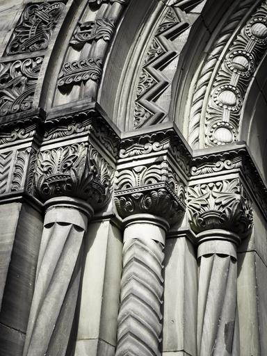 architecture columnar building ornament historically rock carving transient stone past church black white church facade
