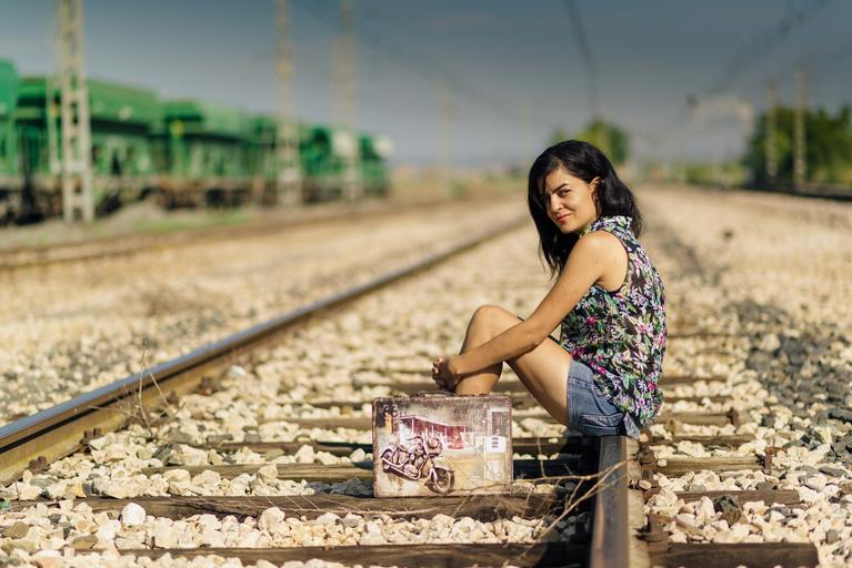 suitcase person happy calm young soledad landscape hold on train vias station railway