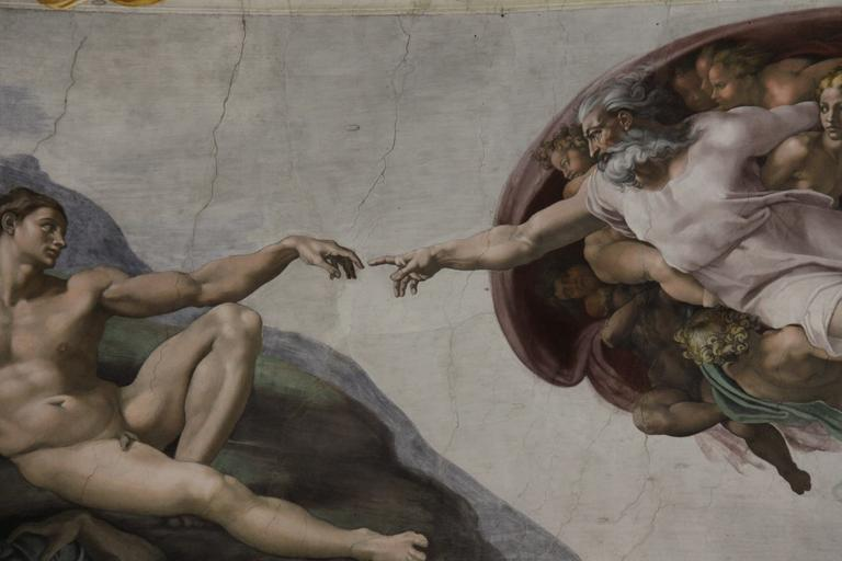the creation of adam fresh in sistine chapel painted miguel angel vatican art painting god mural painting